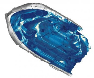 A 4.4 billion-year-old zircon crystal, the oldest confirmed piece of the Earth's crust, is providing new insight into how the early Earth cooled from a ball of magma and formed continents just 160 million years after the formation of our solar system, much earlier than previously believed.  (John Valley)
