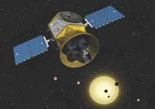 Artist rendering of NASA's TESS - Transiting Exoplanet Survey Satellite in space (NASA)