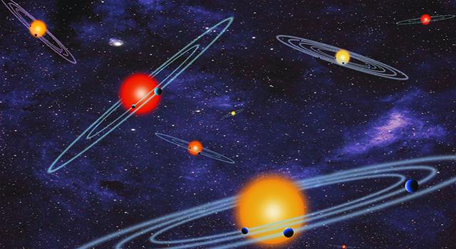 Artist concept depicts multiple-transiting planet systems - stars with more than one planet orbiting it - that have been discovered recently by NASA's Kepler mission. )(NASA)