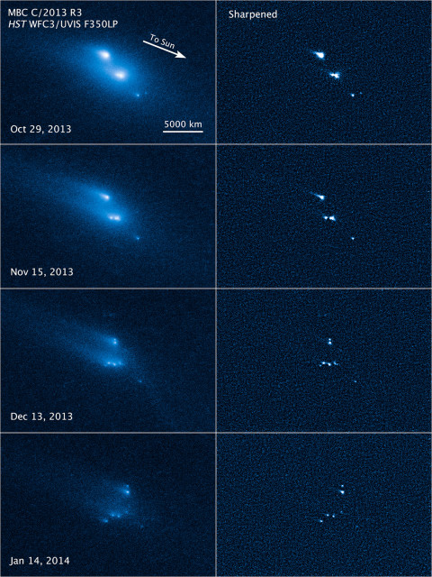 This series of Hubble Space Telescope images reveals the breakup of an asteroid over a period of several months starting in late 2013. The largest fragments are up to 180 meters in radius. (NASA, ESA, D. Jewitt/UCLA)