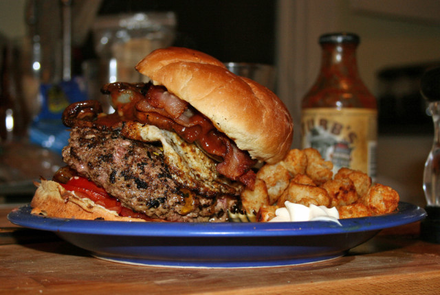 A big juicy hamburger with bacon, egg and all the trimings (Marshall Astor via Flickr/Creative Commons)