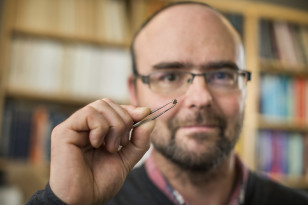 "Graham Pearson holds a diamond that contains the water-rich mineral ""ringwoodite"" (Richard Siemens - University of Alberta)"