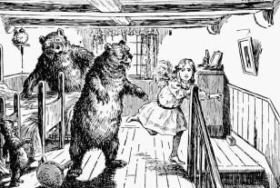 1912 Illustration of Goldilocks running from the 3 bears - from the fairytale (Wikimedia Commons)