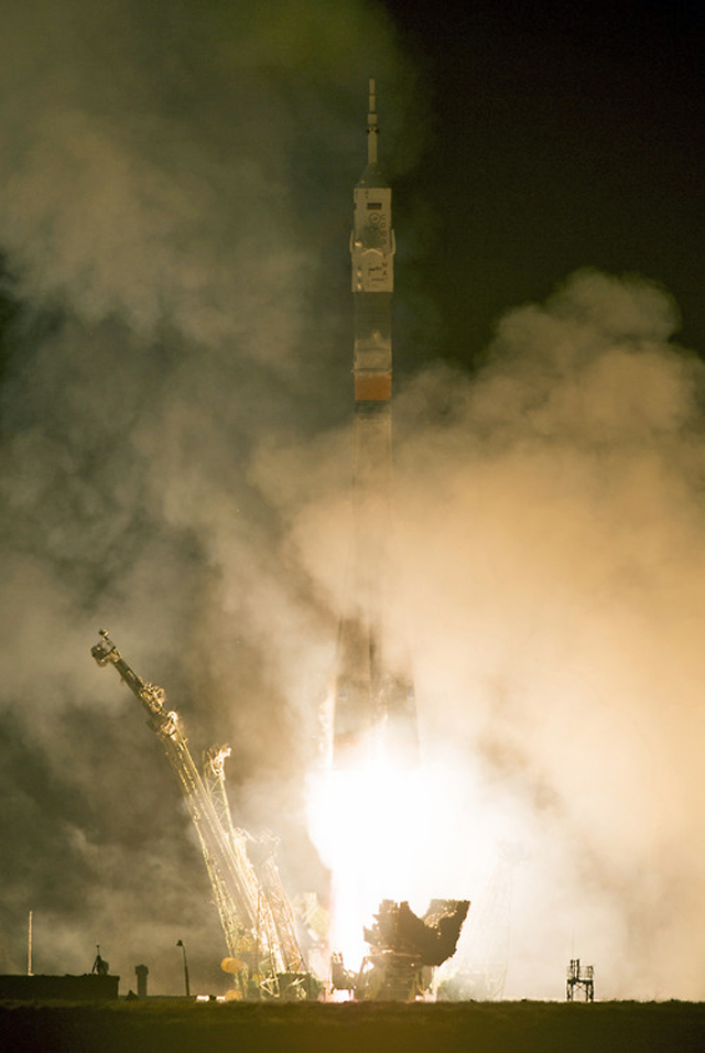 The Expedition 39 Soyuz rocket takes off from the Baikonur Cosmodrome Wednesday, March 26, 2014, in Baikonur, Kazakhstan. (AP/NASA)