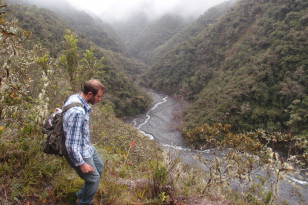 Researcher Josh West treks through a valley in Peru in search of evidence of chemical weathering of rocks as they erode. (Photo/courtesy of Mark Torres