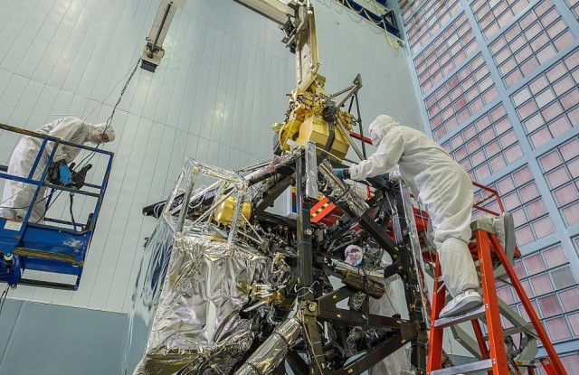 Engineers working inside the world's largest clean room located at NASA's Goddard Space Flight Center this week installed the Near Infrared Camera (NIRCam), into James Webb Space Telescope.  The NIRCam is considered to be an essential part of the new space telescope that's currently under construction. NASA is looking to launch the state of the art space telescope in 2018. (NASA/Chris Gunn)