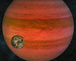 An international team may have discovered the first exomoon orbiting a planet in a distant solar system such as what's illustrated here in this artist rendition. (NASA/JPL/Cal-Tech)