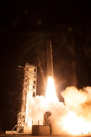 A Minotaur V rocket carrying the Lunar Atmosphere and Dust Environment Explorer lifts off from NASA's Wallops Flight Facility in Virginia on Friday, Sept. 6, 2013. (NASA/Chris Perry)