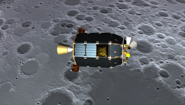 Artist's concept of LADEE passing over the lunar surface (NASA)