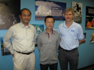 Researchers Zhaohua Wu, Fei Ji, and Eric Chassignet (l-r) led study that  provided the first detailed look at when and where the earth has warmed up and cooled down. (Meredith Field/Center for Ocean-Atmospheric Prediction Studies)
