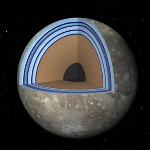 Artist concept of possible 'Moonwich' of Ice and Oceans on Ganymede (NASA/JPL-Caltech)