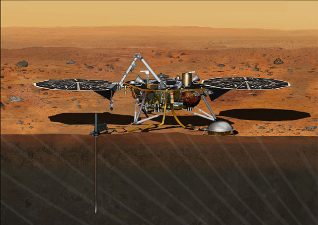Artists rendering of InSight lander on Mars. Just under the spacecraft'sleft dish, you can also see the mission's heat-flow probe burrowed into the surface of the Red Planet. (NASA/JPL-Caltech)