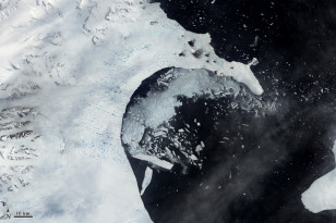 In early 2002 the Larsen B Ice Shelf, in the northern Antarctic Peninsula splintered and collapsed in just over one month.  This image taken by NASA's Earth Observatory on February 17, 2002 shows fragments of the ice shelf floating in the Weddell Sea (NASA)