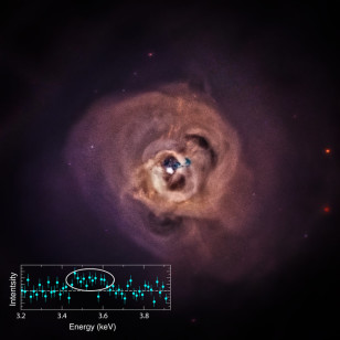 Astronomers found the mysterious X-ray signal in 73 galaxy clusters including the Perseus glaxy cluster, shown here.  The little chart inside the image is a plot of X-ray intensity as a function of X-ray energy.  Circled is the unidentified x-ray emission line (NASA/CXC/SAO)