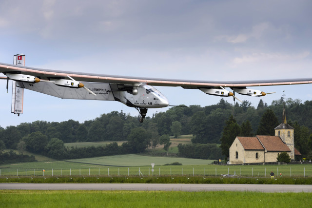 The sun-powered Solar Impulse 2 experimental aircraft is shown here on June 2, 2014, during its maiden flight from its home in Payerne, Switzerland.  This aircraft has a wingspan of 72 meters and is powered by more than more than 17,000 solar cells. (Reuters)