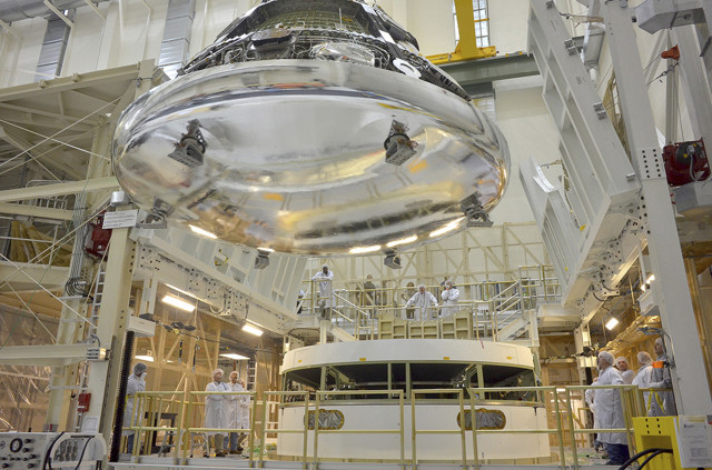 The Orion crew module for Exploration Flight Test-1 is seen at NASA's Kennedy Space Center, Florida