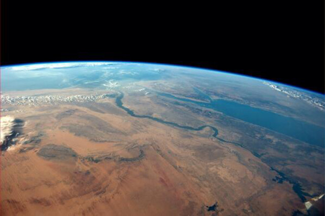 The Egyptian desert meets the Red Sea on a cloudless afternoon in this photo tweeted by first-time astronaut Reid Wiseman on June 8, 2014. Wiseman is one of six men living aboard the International Space Station. Wiseman has a growing following on Twitter where he shared this image. (Reuters)