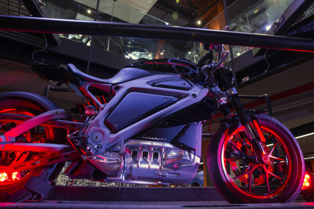 Here's a close-up of Harley Davidson's new electric motorcycle prototype, Project LiveWire that was on display at the motorcycle company's New York store on June 23, 2014.  The LiveWire isn't on sale yet since the final version of the LiveWire is still being developed. (Reuters)
