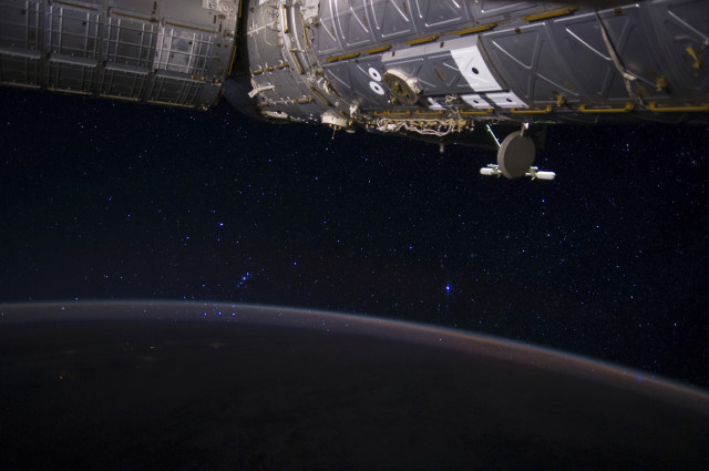Here's a shot of the constellation Orion that was taken from the International Space Station on June 24, 2014 by ISS Engineer, Reid Wiseman.  In the upper right area you can see the U Destiny module. (NASA)