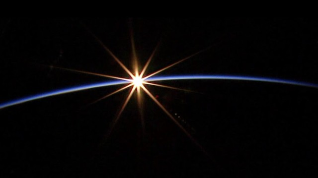 International Space Station crewmembers took this remarkable photo of a sunrise as seen by the ISS.  The photo was taken just a few minutes before the beginning of the June 19, 2014 spacewalk. (NASA)