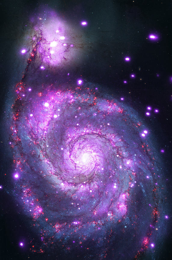 Here is a nice composite picture of the Whirlpool Galaxy or M51 in the Canes Venatici constellation.  The composite merges x-ray images taken with NASA's Chandra X-ray Observatory with optical images taken by NASA's Hubble Space Telescope. June 3, 2014 (NASA)
