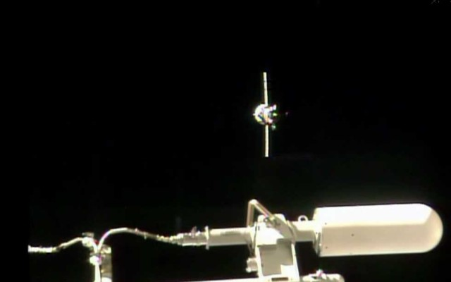 The Russian Progress 56 cargo ship is shown, in this NASA-TV video capture, as approaches the International Space Station for docking on July 23, 2014. (NASA-TV)