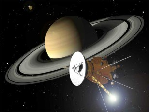 Artist's rendition of the Cassini spacecraft approaching the planet Saturn. (NASA)