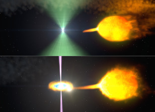 Artist's concept shows one model of the pulsar before (top) and after (bottom) its radio beacon (green) vanished when gamma-ray output rose by five times. (NASA)