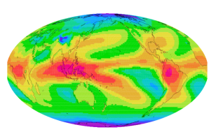 Illustration of annual mean T2-T12 field that provides a direct measure of the upper-tropospheric water vapor. Purple = dry and Red = moist. (Eui-Seok Chung, Ph.D./University of Miami Rosenstiel School of Marine and Atmospheric Science)