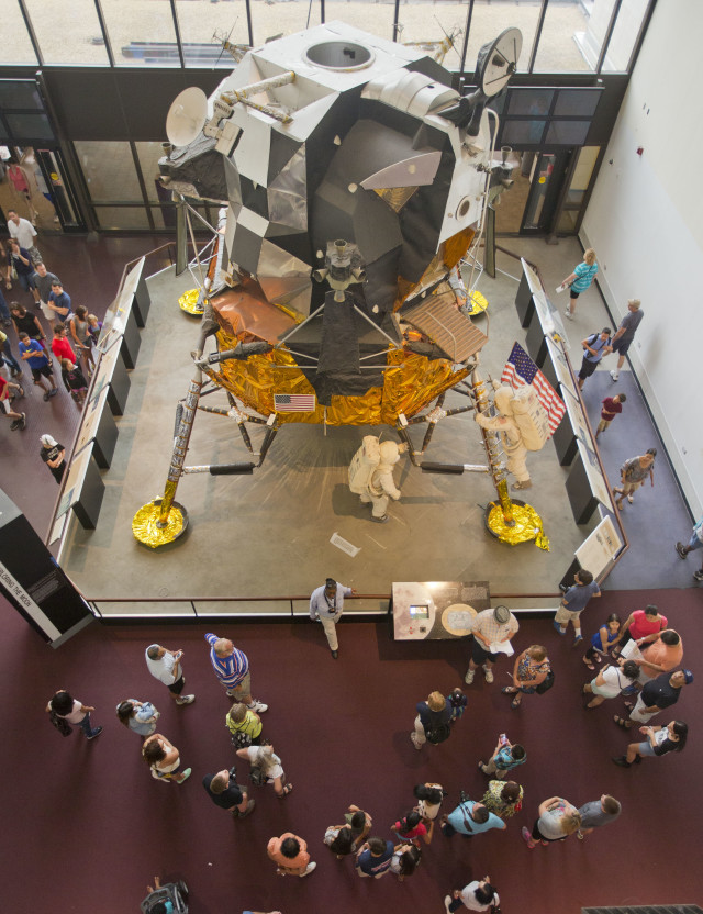 Visitors check out the Apollo Lunar Module display at Washington DC's Smithsonian Air and Space Museum on July 20, 2014, the 45th anniversary of Apollo 11 lunar landing. (AP)