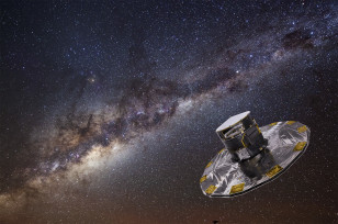 Artist's impression of ESA's Gaia spacecraft mapping the stars of the Milky Way ((c) ESA/ATG medialab/ESO)