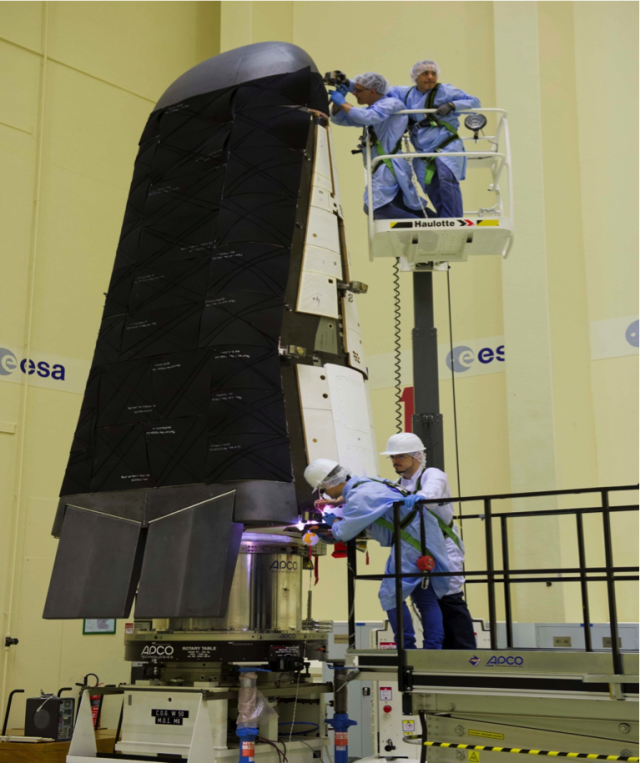 European Space Agency engineers are shown in this photo released on July 15, 2014, performing final tests on its Intermediate experimental Vehicle, IXV.  The engineers to make sure that the spacecraft can withstand the extreme conditions it will experience from liftoff to separation from its Vega rocket during its scheduled November 2014 launch. (© ESA)
