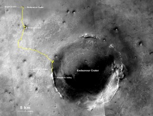 The gold line shows Opportunity's path of travel on Mars. The start point,its Eagle Crater landing site, is on the top left its current location after traveling a record setting 40.25 km is shown on the rim of Endeavour Crater. (NASA/JPL)