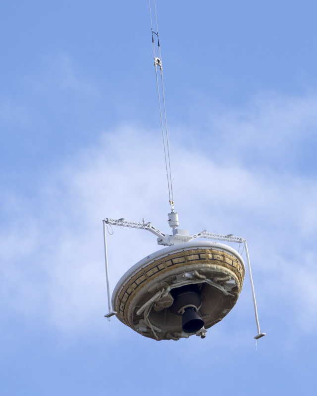 On Jun 28, 2014, after several adverse weather related cancelations, NASA finally got to launch its saucer-shaped Low-Density Supersonic Decelerator (LDSD) test vehicle.  The LDSD is shown here being lifted up by a high altitude balloon at the U.S. Navy's Pacific Missile Range Facility in Kauai, Hawaii. NASA hopes that someday the LDSD will allow the space agency to deploy heavy payloads onto the surface of Mars. (Reuters)