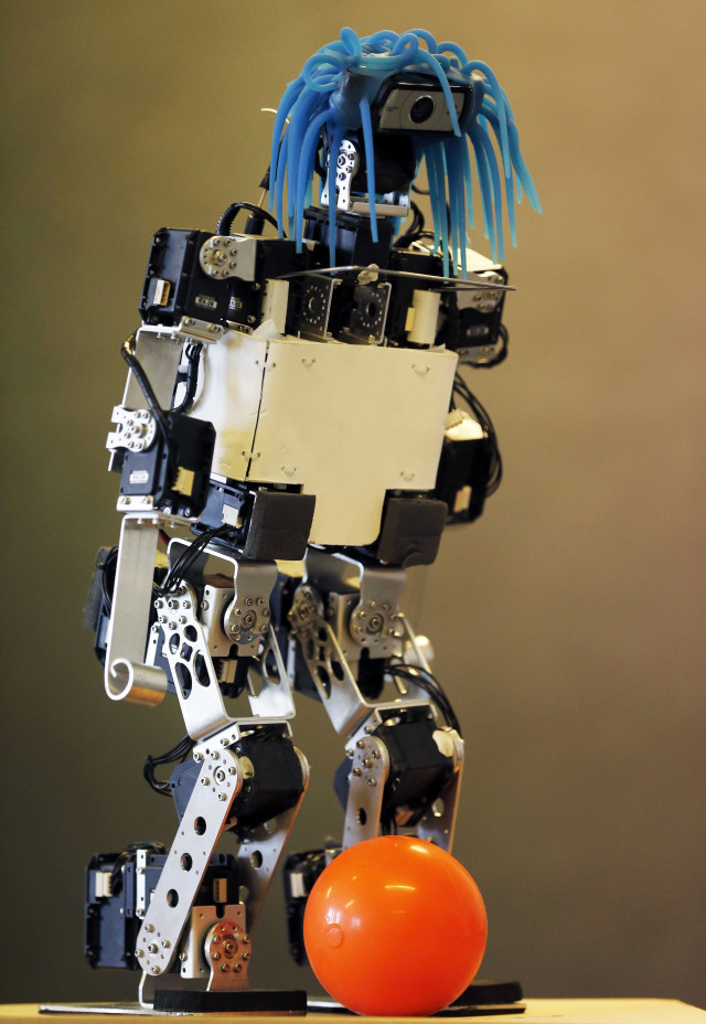 "A humanoid robot developed by researchers and students from the University of Bordeaux was displayed at the LaBRI workshop in Talence, France on July 7, 2014. This robot along other humanoid robots will compete at the annual 2014 world ""RoboCup Championship"" that will take place in Brazil from July 21 to 24.  (Reuters)"
