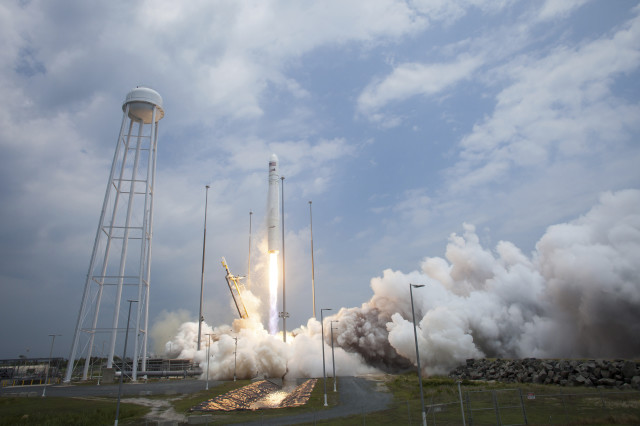 Carrying over 1,361 kg of supplies for the International Space Station, the Cygnus spacecraft aboard this Orbital Sciences Corporation Antares rocket launches from NASA's Wallops Flight Facility in Wallops Island, Virginia, July 13, 2014. (Reuters/NASA)