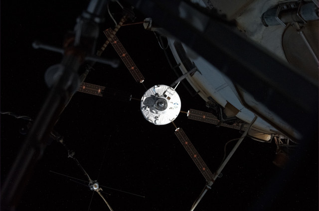 The European Space Agency's ATV-5 spacecraft, loaded with a variety of supplies, is seen here approaching the International Space Station, on August 12, 2014.  Launched from French Guiana on July 29, 2014 this was the last ATV spacecraft that ESA will send to resupply the space station. (© Roscomos/O.Artemyev)