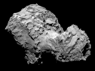 Rosetta's Target - Comet 67P/Churyumov-Gerasimenko taken from a distance of 285 km by Rosetta's OSIRIS narrow-angle camera (European Space Agency/Rosetta)