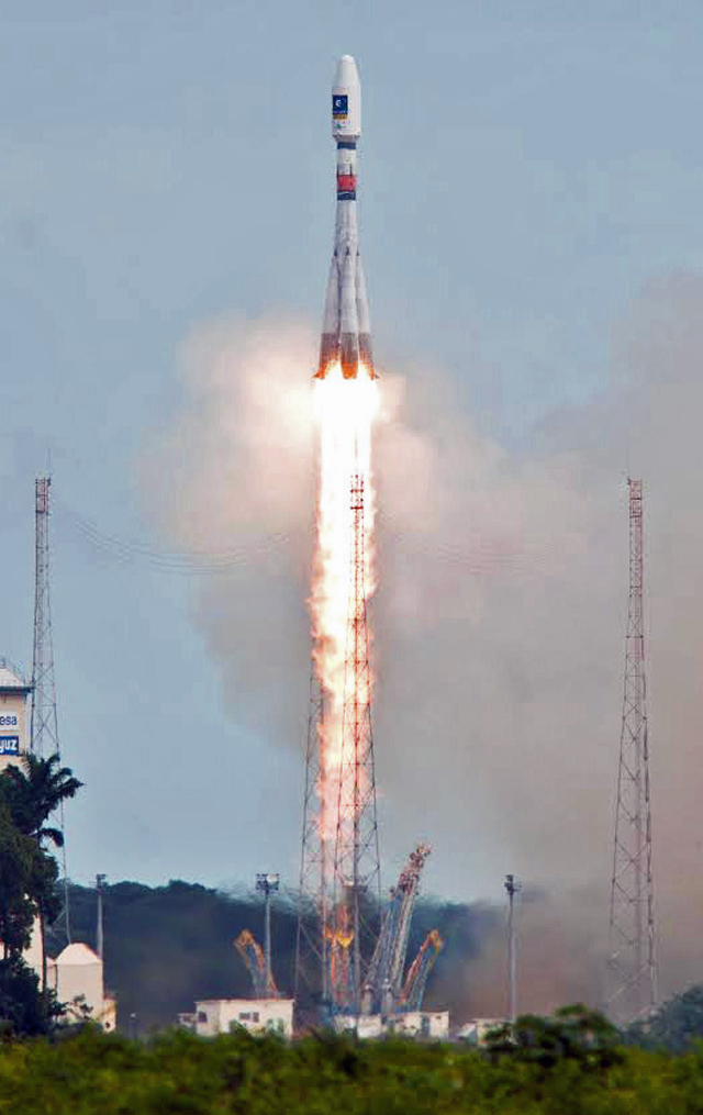 The European Space Agency sent Europe's fifth and sixth Galileo satellites into space. The two spacecraft were launched aboard Soyuz Flight VS09, from Europe's Spaceport in French Guiana, on August 22, 2014.  The Galileo satellites will be part of a global navigation satellite system that's being built by the European Union and ESA. (© ESA)