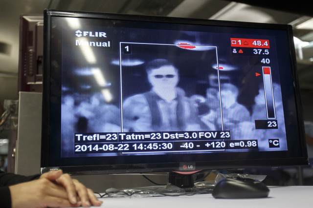In an effort to avert any outbreak of the deadly Ebola virus, some Asian nations have been using thermal imaging cameras and are placing Doctors at their airports so that they can screen out sick travelers as they arrive.   This photo of thermal image display was taken at Bangkok's Suvarnabhumi Airport in Bangkok August 22, 2014.  (Reuters)
