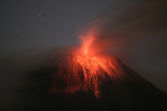 "Here's another of this week's active volcanoes.  This is Ecuador's Tungurahua, or ""Throat of Fire"", volcano as it erupts on August 24, 2014. (Reuters)"
