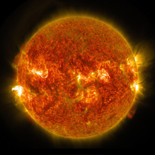 The sun recently let loose with a burst of radiation in this M5 class or mid-level solar flare that peaked at 1216 UTC, on August 24, 2014.  This image was taken by NASA's Solar Dynamics Observatory (SDO).  The M class of solar flares is about ten times less powerful than the most powerful flares, called X-class flares. (NASA/SDO)