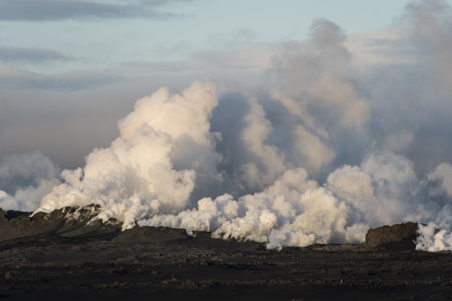 Several volcanoes around the world have become active recently.  Among them is Iceland's Bardabunga Volcano.  Here steam and smoke are shown rising above a lava field fissure that's part of the Bardabunga Volcano system on August 29, 2014.  (Reuters)