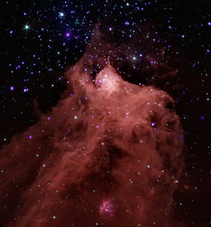 Composite image of the molecular cloud Cepheus B, taken with combined data from the Chandra X-ray Observatory and the Spitzer Space Telescope. (NASA)