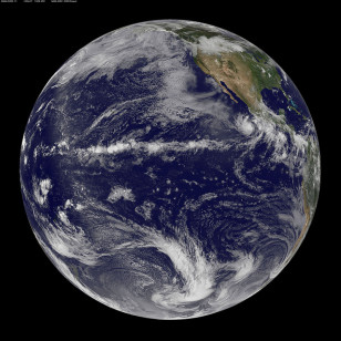 A view of Earth taken by NASA/NOAA GOES-11 satelite. About 71 percent of the Earth's surface is water (NASA/NOAA)