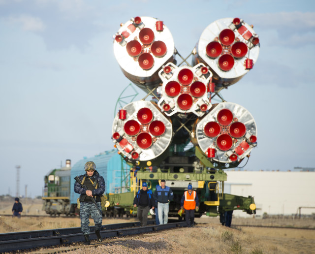 Here's a look of the powerful engines of the Soyuz-FG booster rocket that ferried a new crew to the International Space Station on September 26, 2014.  The photo was taken at the Baikonur Cosmodrome, Kazakhstan, on Tuesday, Sept. 23, 2014. (NASA, Aubrey Gemignani)