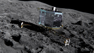 Artist's impression of Rosetta's lander Philae on the surface of comet 67P/Churyumov-Gerasimenko. Philae will be deployed to the comet in November 2014. ((c) ESA/ATG Medialab)