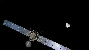 Artist impression of ESA's Rosetta approaching comet 67P/Churyumov-Gerasimenko. ((c) Spacecraft- ESA/ATG Medialab/Comet - ESA/Rosetta/NAVCAM