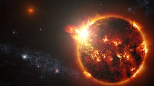 Artist rendering of the series of powerful solar flares that were observed blasting from one of the two Red dwarfs in the DG CVn binary star system. (NASA)