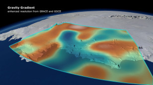 A combination of data from ESA's GOCE mission and NASA's Grace satellites shows the changes in Earth's gravity field resulting from loss of ice from West Antarctica between November 2009 and June 2012. (DGFI/Planetary Visions)
